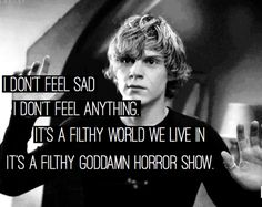 evan peters, american horror story, and ahs image American Horror Story Quotes, American Horror Story Seasons, Evan Peters, Peter Evans, Tate Ahs, I Dont Feel Anything, Tate And Violet, Movies And Series, Horror Show