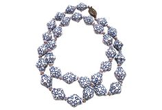Blue & white art glass necklace on onekingslane.com from Maxwell's 9.13.34.  Sold!