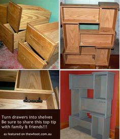 Dresser drawer shelfs