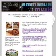 Reminder Email Blast For Emmanuel Music Sent To Those Who Are