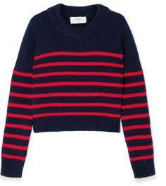 2272e45f36 La Ligne - Mini Marin Striped Wool And Cashmere-blend Sweater - Navy  Cropped Sweater