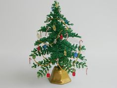 Miniature French Beaded Christmas Tree with by BeadedFleur on Etsy, $45.00