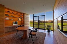 Orange in the room blends in with the warm wooden surfaces [Design: Vinci - Hamp Architects] Best Home Office Desk, Home Office Decor, Home Decor, Interior Color Schemes, Interior Design, Colour Schemes, Bauhaus, Carriage House Plans, Orange House