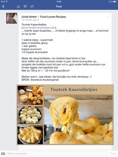 Toutrek kaasrolletjies Braai Recipes, Snack Recipes, Cooking Recipes, Snacks, South African Dishes, South African Recipes, Kos, Beer Bread Mix, Good Food