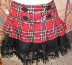 1b6b8b1287 Tripp NYC Hot Topic Skirt Tartan Plaid Pleated Red Black Goth Rock Lolita  Size L