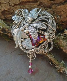 This is stunning! Silver Dragonfly Botanical Leaves Pin Pendant Brooch