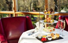 Afternoon Tea in the Pavilion Lounge which overlooks Druids Glen golf course Pavilion, Afternoon Tea, Table Settings, Golf, Lounge, Table Decorations, Dining, Home Decor