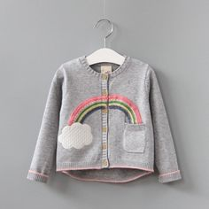 Awesome VORO BEVE 2017 New Spring Autumn Sweet Long Sleeve Girls Sweaters Coat rainbow Girl Cardigan Kids clothing - $41.19 - Buy it Now!