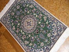 玄関マット手織りペルシャ絨毯ナイン産地58044、ダークブルー玄関マットペルシャ