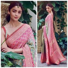 Am I still going gaga over looks from promotions? I totally am! Just look at how pretty she looks in this gorgeous custom I bet you've seen the post on about Alia Bhatt's ethnic wear looks from Kalank Promotions. Which look of Alia's was your favourite? Indian Attire, Indian Outfits, Indian Wear, Indian Wedding Wear, Wedding Lehnga, Marathi Wedding, Wedding Dresses, Saree Poses, Bandhani Saree