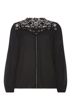 Primark - Schwarze Bluse mit gehäkeltem Ausschnitt