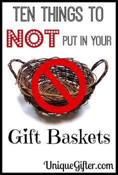 Gift baskets can get a bad rep when someone is receiving a whole bunch of them. Summer sausage, anyone? Here are Ten Things to Not Put In Your Gift Baskets! Gift basket Ideas baskets Ten Things to NOT Put in Your Gift Baskets Summer Gift Baskets, Gift Baskets For Women, Food Gift Baskets, Themed Gift Baskets, Christmas Gift Baskets, Raffle Baskets, Creative Gift Baskets, Basket Gift, Christmas Gifts