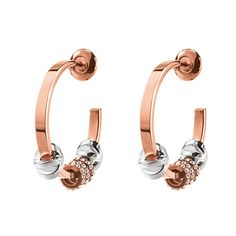 Love Memo Rose Gold Plated Μικροί Κρίκοι Σκουλαρίκια Swarovski Stones, Stones And Crystals, Rose Gold Earrings, Gold Hoop Earrings, Silver Roses, 18k Rose Gold, Rose Gold Plates, Bling, Accessories