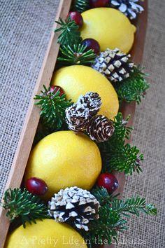 A pretty lemon Christmas centrepiece!
