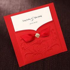 einfache asiatischen Stil geprägt tri-fach Hochzeitseinladung in rot mit der 50/20 Bänder-Set – EUR € 27.14