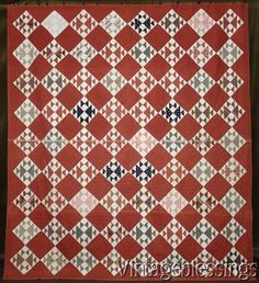 "$225 ANTIQUE c1870s Rich Russet Beautiful Fabrics Old Maids Puzzle QUILT 82x73"" www.Vintageblessings.com"