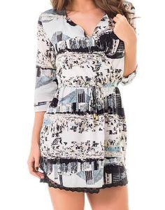 Vestido Estampado Com Manga e Decote V Bossa Nova $314 - Lez a Lez