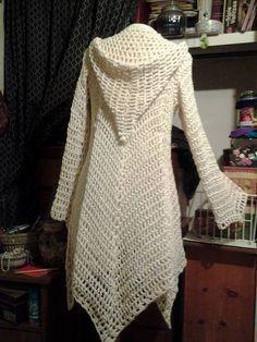 Crochet Pattern includes 2 Patterns for Glenda's Hooded Gypsy Cardigan: women's sizes and womens sizes INTERMEDIATE LEVEL Häkelanleitung. Cardigan Au Crochet, Crochet Jacket Pattern, Gilet Crochet, Crochet Coat, Crochet Shawl, Crochet Clothes, Cardigan Pattern, Crochet Sweaters, Hooded Cardigan