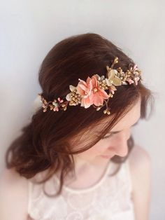 bridal headpiece, bridal headband, flower crown, bridal hair accessories, coral headband, gold headband, bridal hair piece, wedding circlet