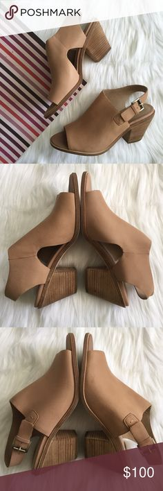"""(NEW)Eileen Fisher Glance Vacchetta Leather Sandal New without box, Women's peep toe stacked heel sandal, adjustable strap with buckle closure, approx 3"""" stacked heel, Leather upper, lining and sole, Sand Color. Please feel free to ask questions.  No trades. Eileen Fisher Shoes Sandals"""