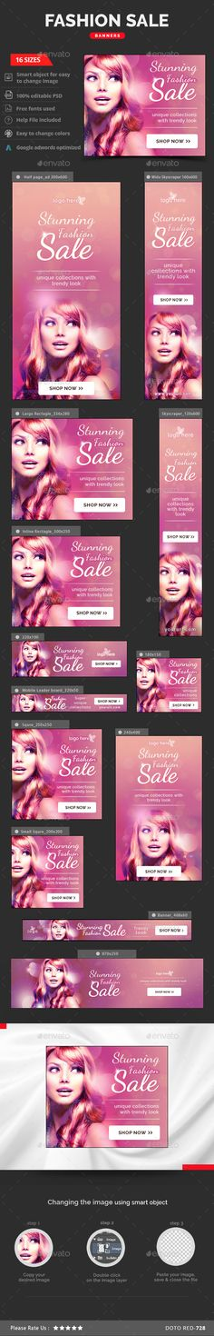 Fashion Sale Web Banners Template PSD #design #ads Download: http://graphicriver.net/item/fashion-sale-banners/13167468?ref=ksioks