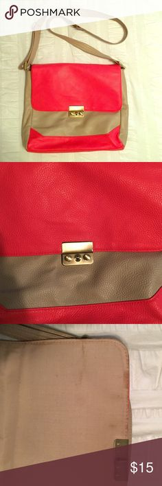 """Tan & Coral Crossbody Tan crossbody purse with coral accent. Very comfortable! No damage to the outside, but some spots on the inside (pictured.) 10"""" by 10"""". Strap is adjustable. Bags Crossbody Bags"""