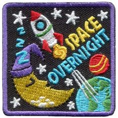 Space Overnight (Iron On) Embroidered Patch by E-Patches & Crests