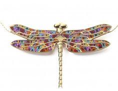 Millefiori Dragonfly Necklace by Adina Plastelina.