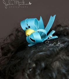 Blue bird ribbon sculpture hair clip