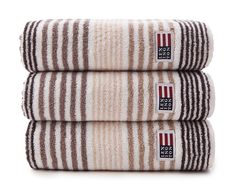 "Lexington original beige striped towel in 600 g cotton terry.  Washcloth: 30cm x 30 cm / 12' x 12' Small Hand Towel = 30cm x 50cm / 12"" x 20"" Large Hand Towel = 50cm x 70cm / 20"" x 28"" Bath Towel = 70cm x 130cm / 28"" x 50"" Bath Sheet = 100cm x 150cm / 40"" x 60"" 100% Terry Cotton"