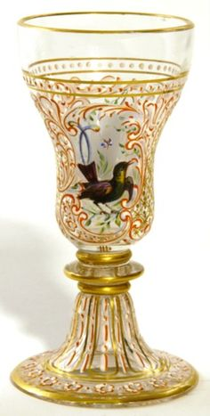 Expressive 4 Loetz Crystal Enameled Small Glass Cordials Stamped Made In Czechoslovakia Glass
