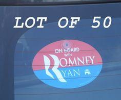 "Quantity 50 - PLASTIC HANGING CAR WINDOW SIGNS - ""ON BOARD WITH ROMNEY / RYAN"" 4""x6"" OVAL (anti-obama nobama gop republican decal sticker) by OnBoardWith.com by OnBoardWith.com, http://www.amazon.com/dp/B0098V6EPM/ref=cm_sw_r_pi_dp_wEUEqb11Y9RAV"