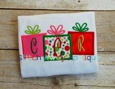 Christmas Present Trio Machine Embroidery Applique Design by StitchAwayApplique on Etsy https://www.etsy.com/listing/170517137/christmas-present-trio-machine