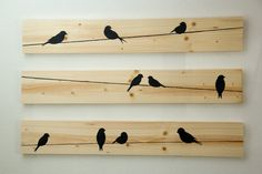 Rustic Wall Art Birds on a wire 3 piece set LARGE by HomeFrosting Wooden Wall Decor, Rustic Wall Art, Rustic Walls, Wooden Art, Wooden Walls, Arte Pallet, Pallet Art, Wood Burning Crafts, Wood Burning Art