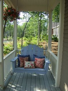 porch swing on a teeny porch