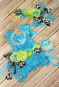 Petti Lace Romper Dress Blue Green Set With by CuddleBunnyCouture, $45.00