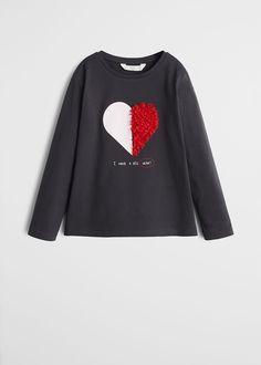 MANGO KIDS - Female - Embossed design t-shirt black mango kids - Black - 7 Shirt Design For Girls, New T Shirt Design, Shirts For Girls, Shirt Designs, Fabric Print Design, Kids Outfits, Cool Outfits, Kids Usa, Mango Fashion