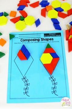 Composing Shapes- one of the 20 centers in the Shapes Unit in the Kindergarten Math Curriculum! Building shapes helps build spacial awareness for young students.