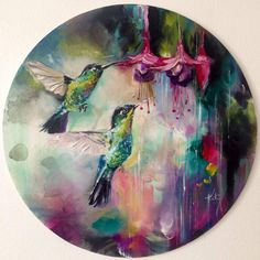 Oil Painting Hummingbirds - Katy Jade Dobson ART