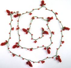 Crochet Oya GRAPE Necklace Beaded Lariat RED by istanbuloya