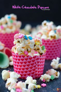White Chocolate Popcorn is the quickest and cutest treat to surprise your guests. This makes perfect Valentine's Day recipe and edible gift as well. | giverecipe.com | #popcorn #partyfood