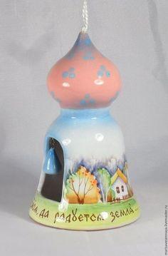 Колокольчики ручной работы. Колокольчик прорезной с куполом. Мариса (marisavesennaya) керамика. Интернет-магазин Ярмарка Мастеров. Душевный подарок, купол