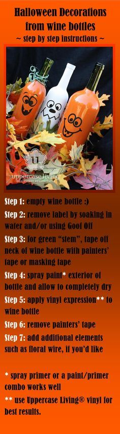 DIY Halloween decor from wine bottles  I think I could have plenty of these to do quickly!!!