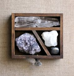 handmade wood curio drawer and crystal and by stoneandviolet, $85.00