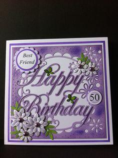 Die'sire Create a Card Happy Birthday die. Xcut flower dies.