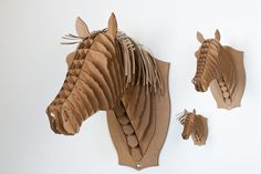 Recycled Cardboard Horse Head Wall Sculpture