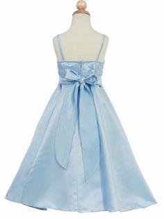 Blue Flower Girl Dress - Matte Satin A-Line