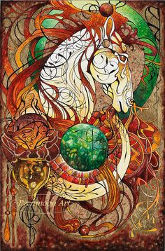Fantasy Art Nouveau Painting  Emberis Keeper of Fire  by Evenmoon