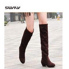 16.99$  Watch here - http://alibos.shopchina.info/go.php?t=32407562163 - 40size  winter knee high stretch boots women 2017 fashion female solid color  thick heel winter tall boots warm snow boots 16.99$ #magazineonlinewebsite