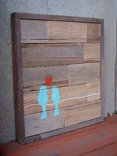 I like the idea of using wood pallets as an art piece. I would do different birds... perhaps native nz ones.